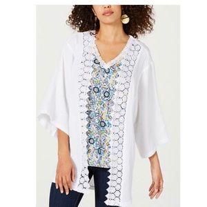Style & Co Cotton Textured Lace-Trim Kimono L/XL